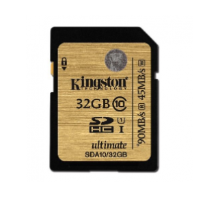 Kingston 32GB Class 10 UHS-I SDHC/SDXC 90MB/s Memory Card (SDA10/32GB)