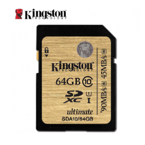 Kingston 64GB Class 10 UHS-I SDHC/SDXC 90MB/s Memory Card (SDA10/64GB)