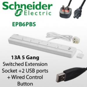 Schneider 4-way Surge w/ LED + 2 USB Surge & Extension