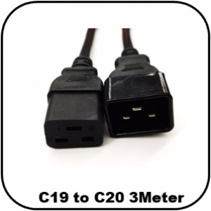 OEM C19 to C20 Power Extension Cable IEC 3Meter
