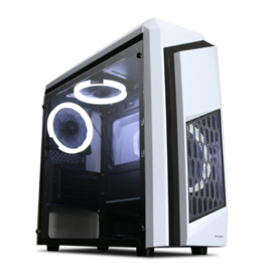 Tecware F3 Elite mATX Computer Case with Two Fans (White)