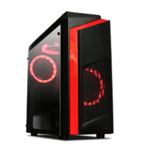 Tecware F3 Elite mATX Computer Case with Two Fans (Red)