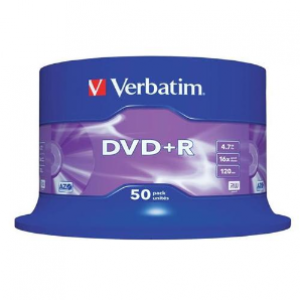 Verbatim DVD+R 4.7GB 16x Speed 120 Min 50pcs/pack P/N: 95037 Made in Taiwan