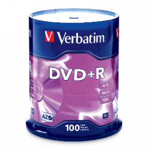 Verbatim DVD+R 4.7GB 16x Speed 120 Min 100pcs/pack P/N: 95098 Made in Taiwan