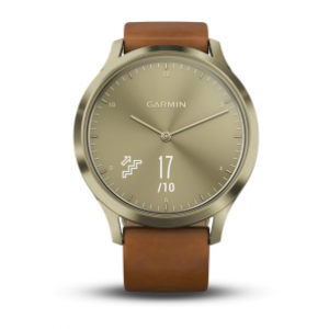 Garmin Vivomove HR Hybrid Smart Watch w/ Discreet Touch Screen - Gold/Gold Leather Band (GM-010-01850-95)